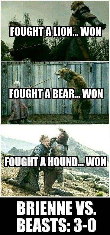 Meme de humor sobre Brienne de Juego de tronos