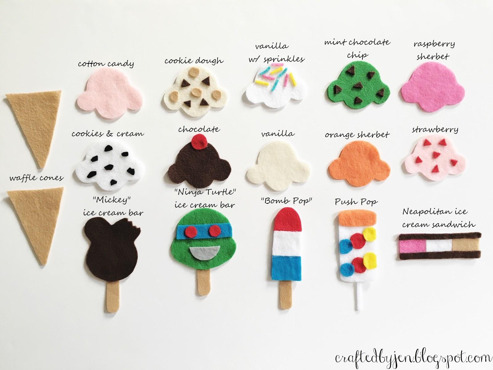 Diy felt ice cream truck quiet board heres emmas menu of ice cream treats ive made ccuart Gallery