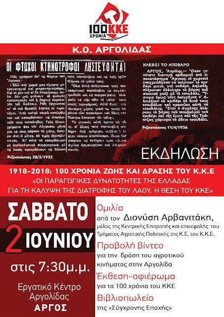 Εκδήλωση της Κ.Ο Αργολίδας για τα 100 χρόνια ζωής και δράσης του ΚΚΕ