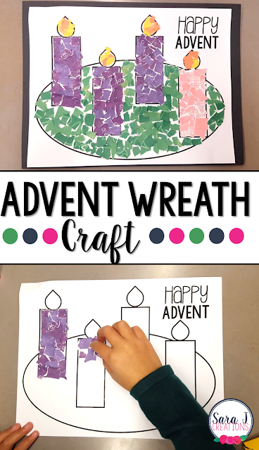 Free Advent wreath printable template. Pair it with ripped paper for a fun textured wreath. #sarajcreations #advent #craft