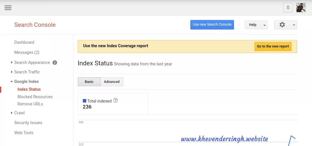 Check which URL are on Google search  with index tool