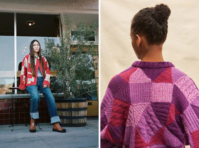 Яркая куртка и фиолетовый свитер в стиле пэчворк