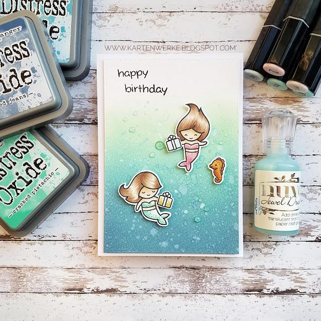 Kartenwerke: Geburtstagskarte mit den Mermaids von Lawn Fawn vor einem Hintergrund aus Distress Oxide Inks
