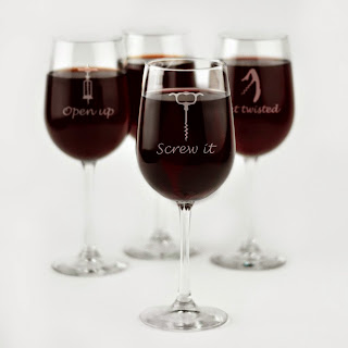 Engraved Corkscrew Themed Wine Glasses - Set of 4