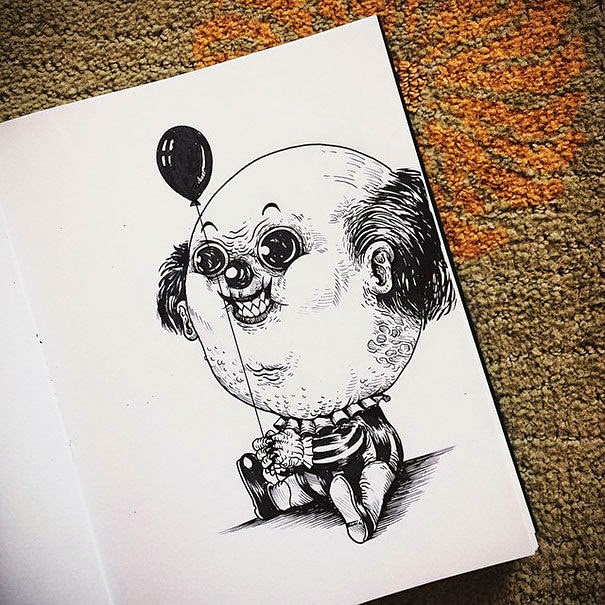 28-Pennywise-Alex-Solis-Baby-Terrors-Drawings-Horror-Movie-Villains-www-designstack-co