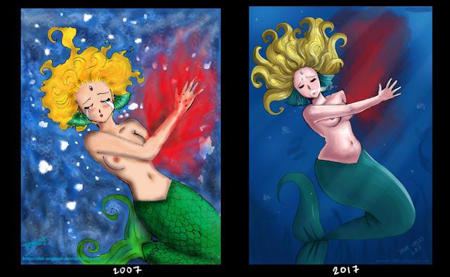 comparación de dibujos antes y después