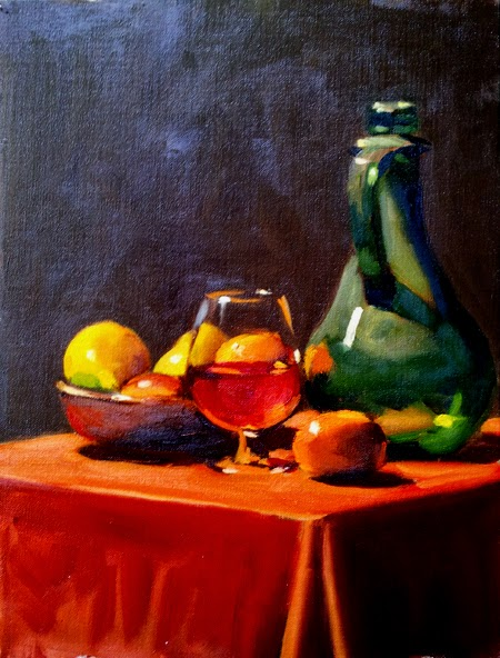 Oil painting of a wine glass partially filled with liquid, a bowl of fruit, a gourd-shaped green bottle and an orange on a light red table cloth.