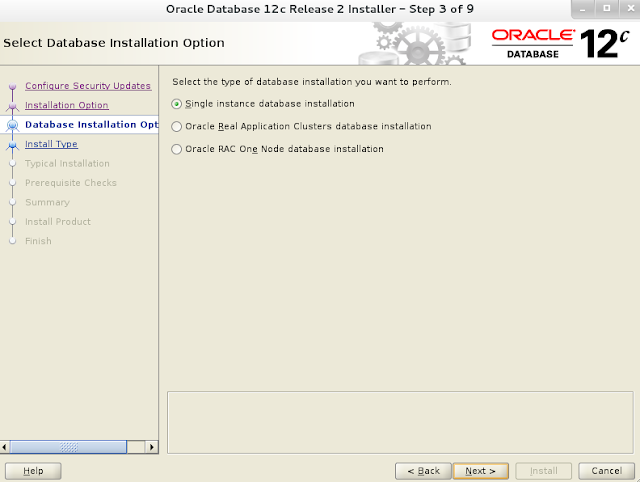 Installing oracle database 12c r2 on Linux wizard screen 3