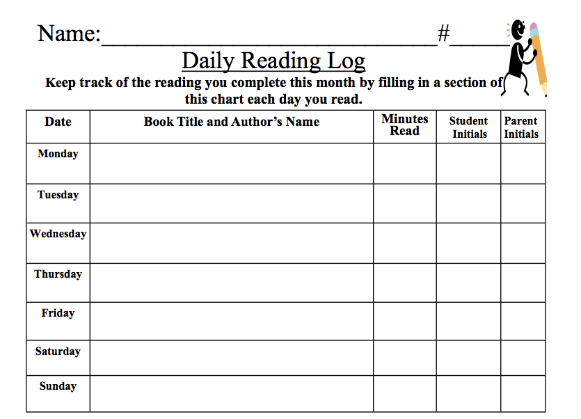 Homework Log Template best photos of homework log template – Reading Log Template