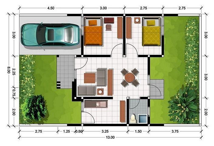 denah rumah 3d minimalis