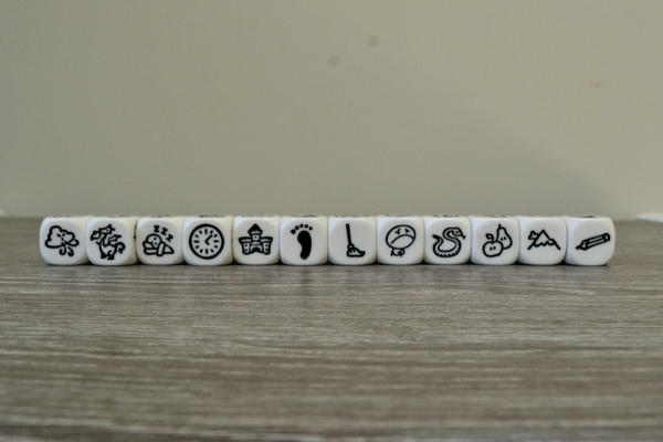 Imagidice story cubes in a row