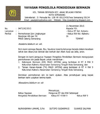 Contoh Surat Izin Lingkungan Pendirian TK KB TPA dari RT RW