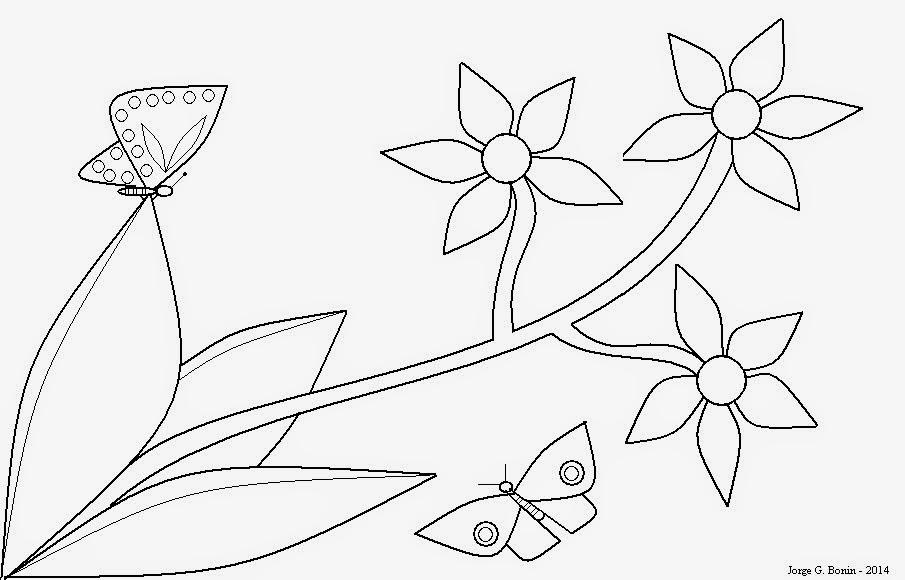 Arte No Paint: Desenho Para Colorir: Flores E Borboletas