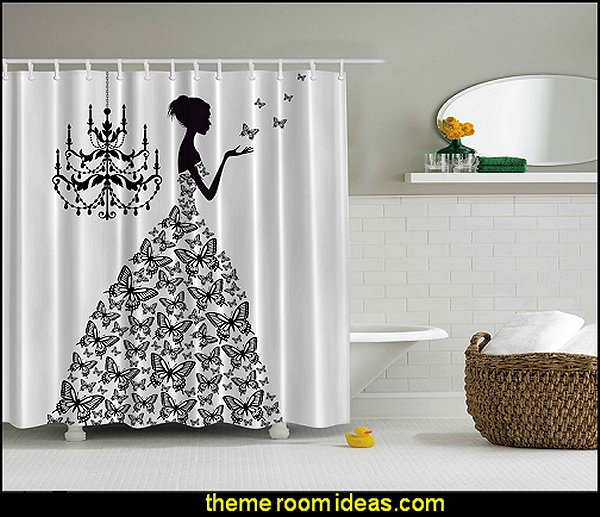 Madame Butterfly Print Polyester Fabric Shower Curtain