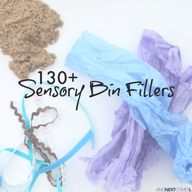 Massive list of sensory bin fillers for kids from And Next Comes L