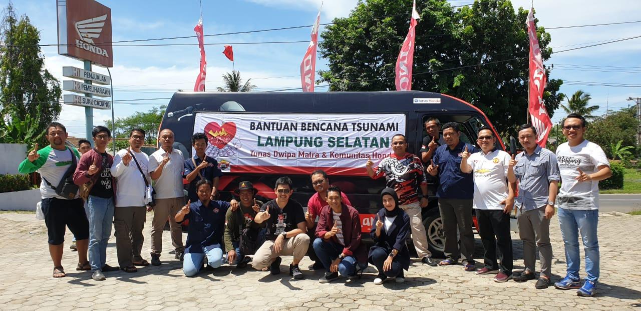 Asosiasi Motor Honda Lampung Bersama Management PT. Tunas Dwipa Matra Salurkan Bantuan Korban Bencana di Lampung Selatan