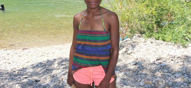 shooting à la rivière, micro short, short flashy, top bustier, black beauty, femme noire, black girl