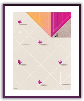 Clod illustration poster Seul sur le parvis