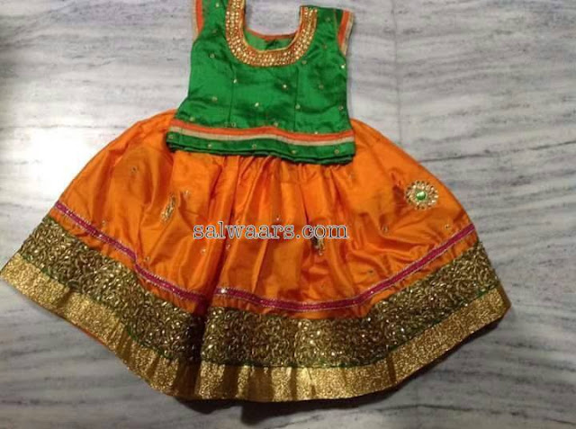 Orange and Green Silk Lehenga
