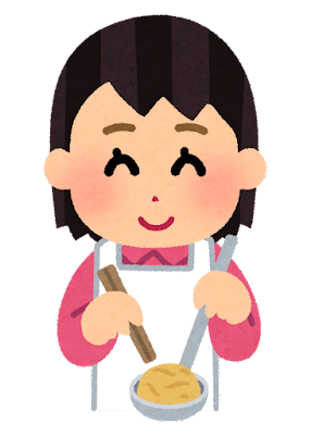 カルメ焼きを作る子供のイラスト(女の子)