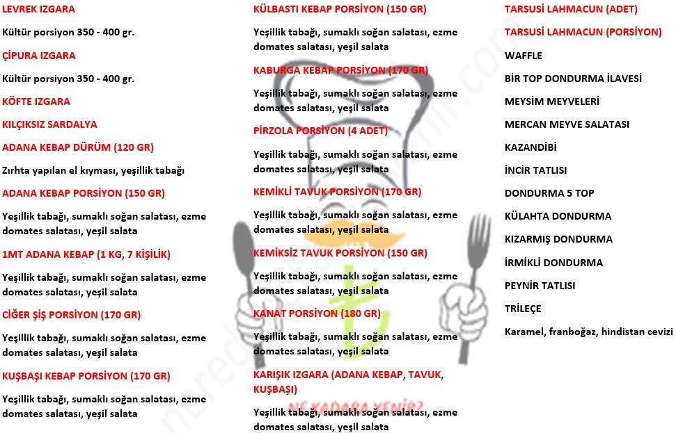 mercan balık restaurant menü listesi