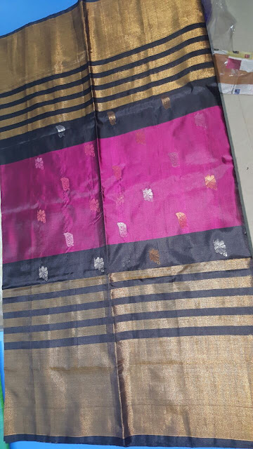 Uppada Jamdani Black with Pink silk saree