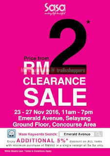 Sasa Clearance Sale 2016