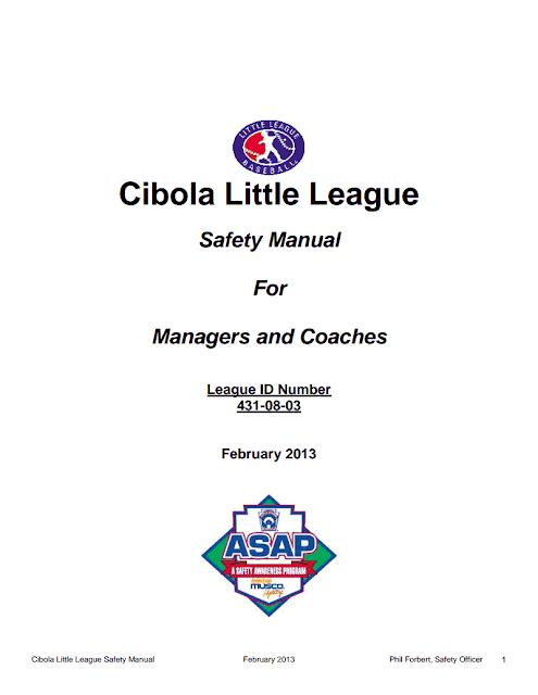 Cibola Little League: Safety Manual