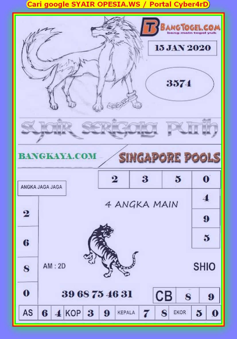 Kode syair Singapore Rabu 15 Januari 2020 97