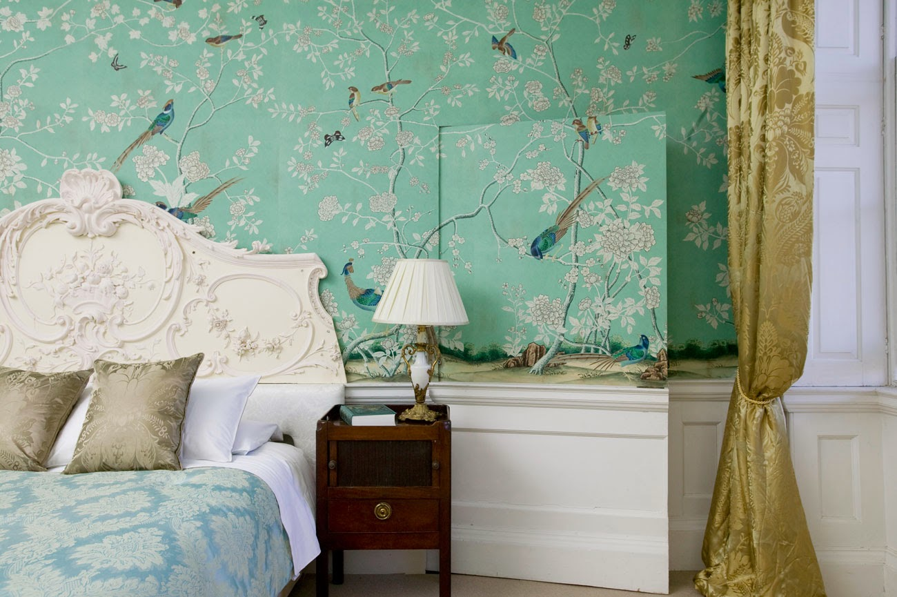 Peonies and orange blossoms chic chinoiserie wallpapers - Papeles pintados vintage ...