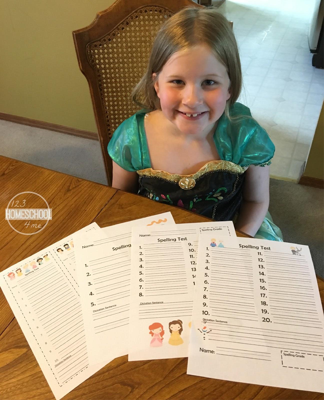Princess Spelling Tests