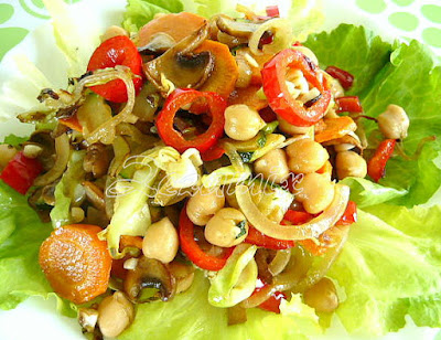 Roasted vegetable salad and chickpea