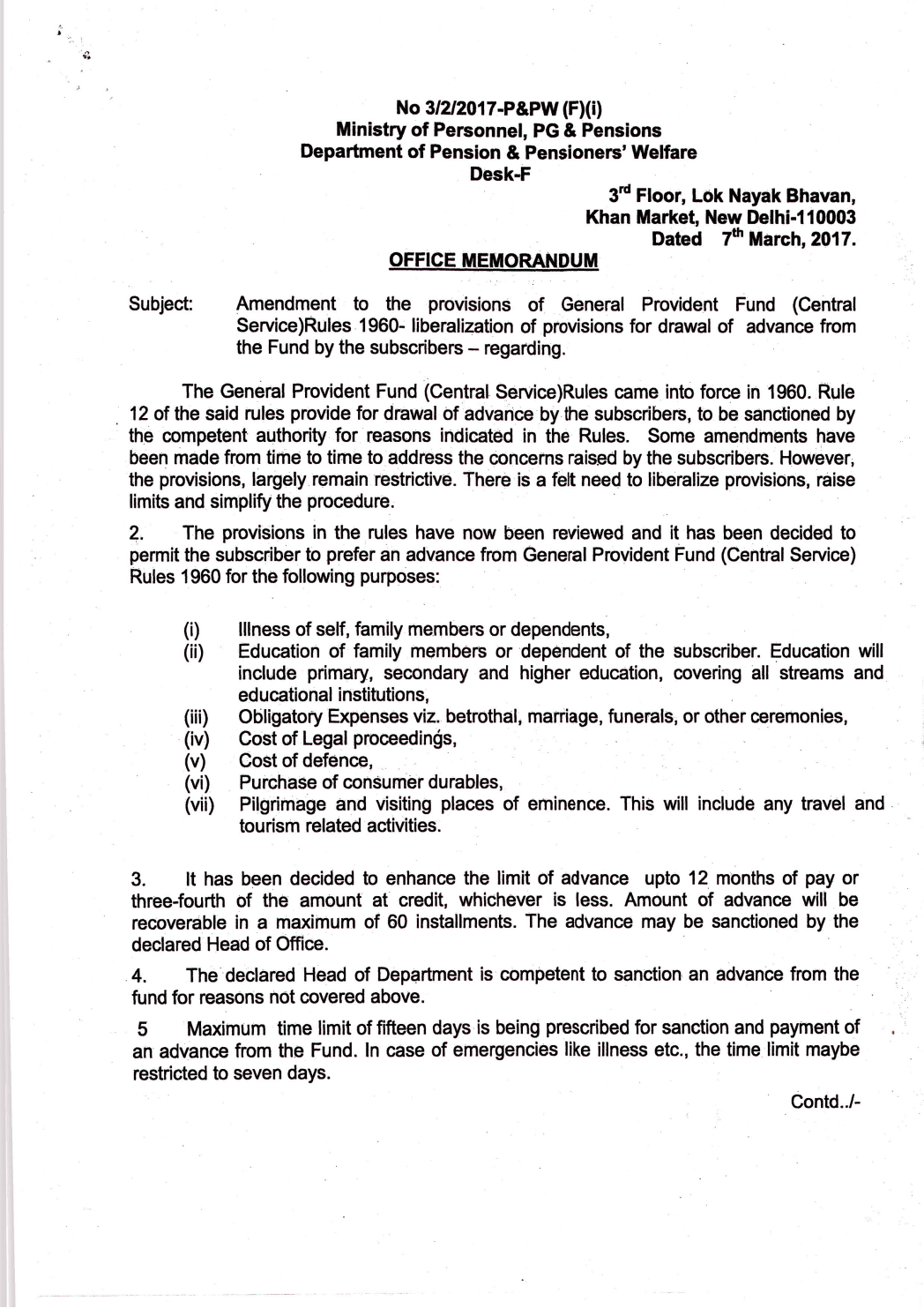 Amendment to the provisions of GPF (CS) Rules 1960