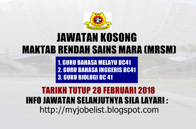 Jawatan Kosong Maktab Rendah Sains Mara (MRSM) Februari 2018