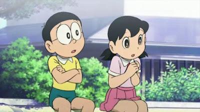 Nobita and Shizuka feeling worried