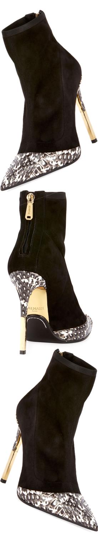 Balmain Suede Metallic-Heel Cap-Toe Boot