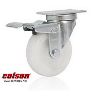 Bánh xe công nghiệp Nylon có khóa chịu tải 122kg | S2-5256-255C-B4W www.banhxepu.net