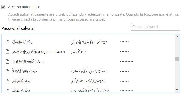 Backup lista password salvate in Chrome,