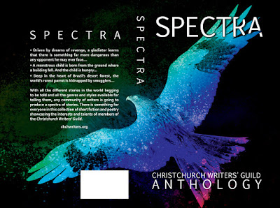 Spectra Anthology - Christchurch Writers' Guild,  Book Cover Graphic Design Kura Carpenter