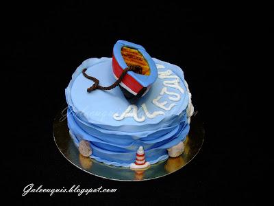tarta marinera con barco