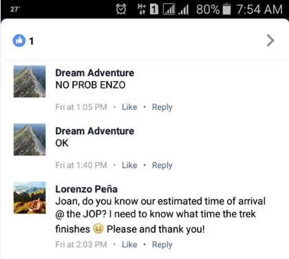 Ralph Cayari Marquez posted Peña's Facebook conversation with Dream Adventure