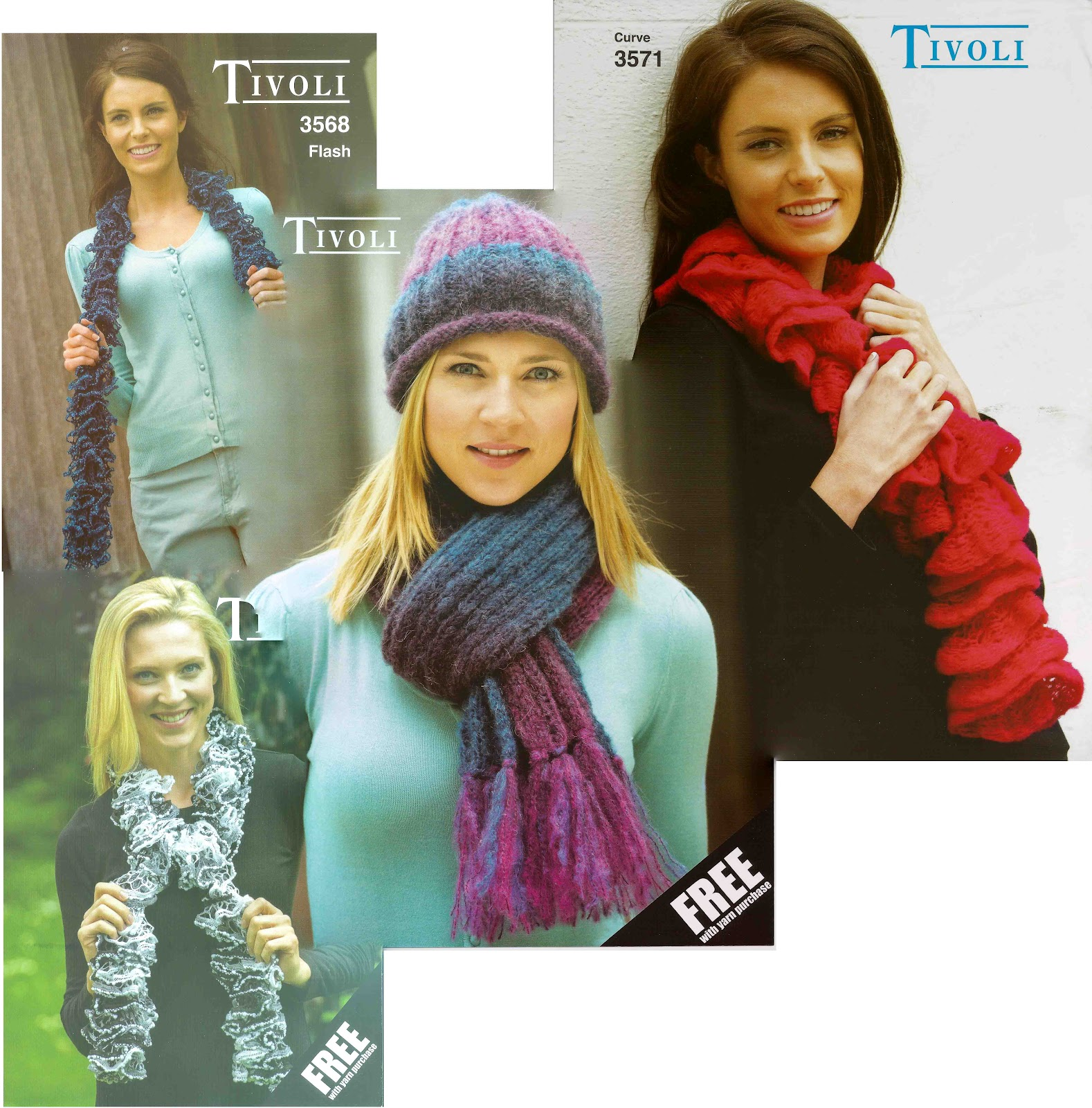 8b886e50725 Free Patterns by Tivoli Spinners  When you buy on of Tivoli s new scarf yarn  we send you a knitting pattern free of charge. The new yarns are Curves