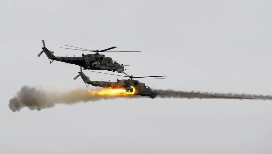 Ρωσικά επιθετικά ελικόπτερα «γαζώνουν» θέσεις του ISIS (βίντεο)