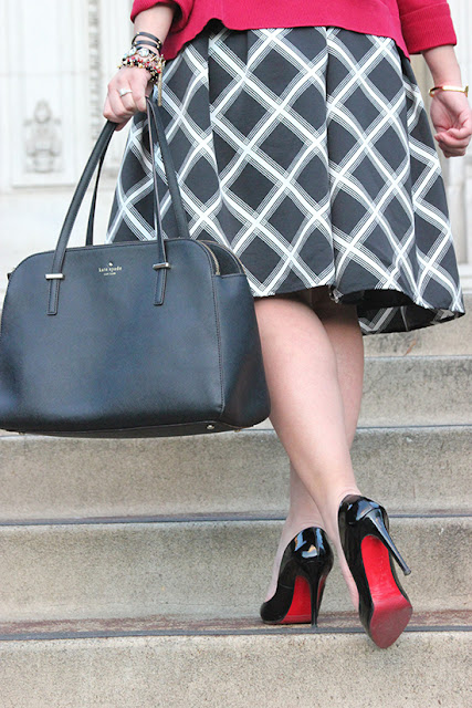 Kate Spade Elissa Cedar Bag and Christian Louboutin Black Patent Heels