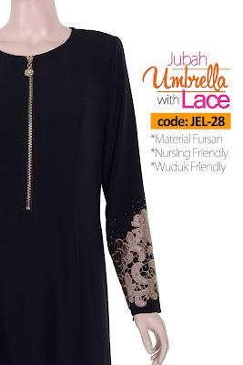 Jubah Umbrella Lace JEL-28 Black Depan 7