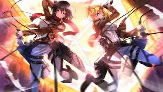 Mikasa i jej koleżanka w natarciu na tytanów