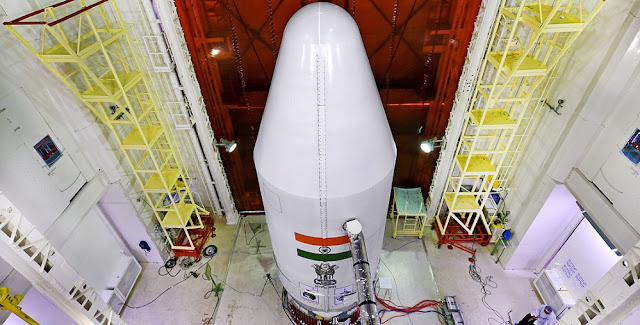 PSLV-C36 with heat shield closed. Photo Credit: ISRO