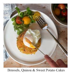 This recipe for Brussel, Quinoa and Sweet Potato Cakes is super easy, nutritious and tasty.  The recipe, a modern twist on the humble bubble & squeak,  is perfect for the colder months of autumn and winter, and comes courtesy of Jo Pratt's new book The Flexible Vegetarian which is suitable for vegetarians and omnivores alike!