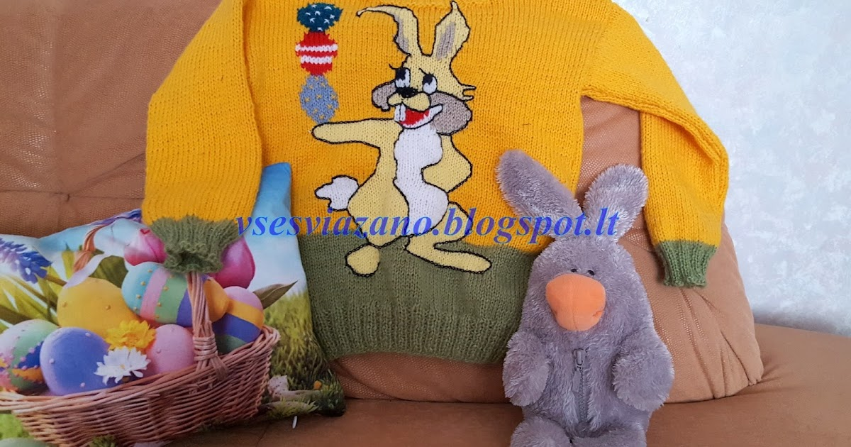 Детский свитер с пасхальным зайцем. Яркая открытка.