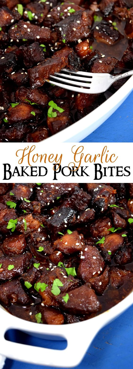 Honey Garlic Baked Pork Bites